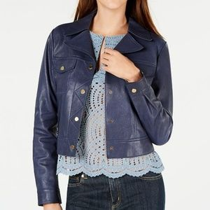 NWT Michael Kors 100% lamb leather jacket in navy